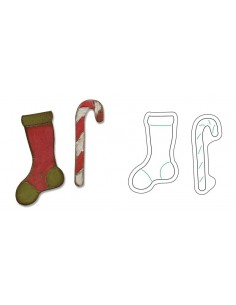 Movers & Shapers Magnetic Die Set 2PK - Mini Stocking & Candy Cane by Tim Holtz