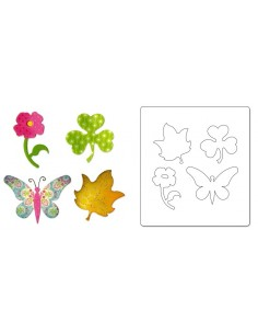 Bigz Die Butterfly, Flower, Leaf & Shamrock